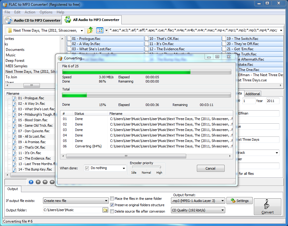 How to convert flac to mp3 in batch